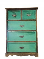5 DRAWER WOODEN CABINET GREEN 52X30X75CM