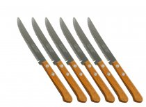 6PCS STEAK KNIFE WOOD HANDLE 914TR 14CM K25