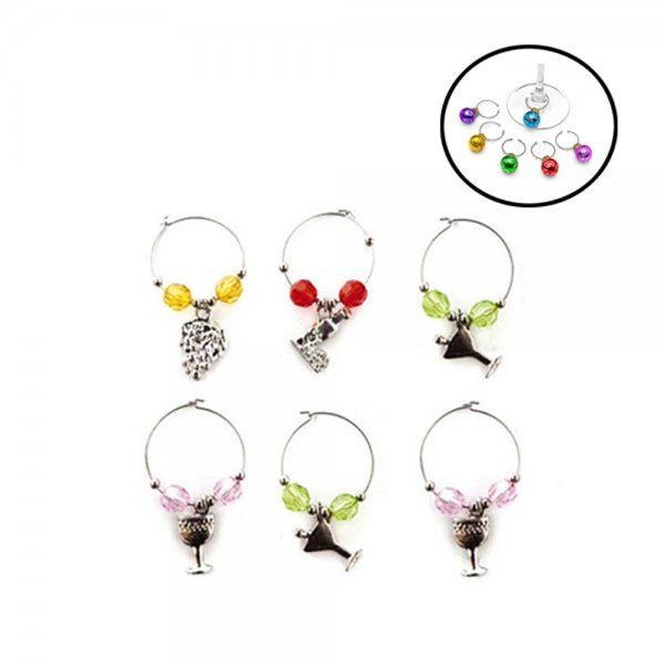 6PCS WINE CHARMS GLASS RING 48608905 K24