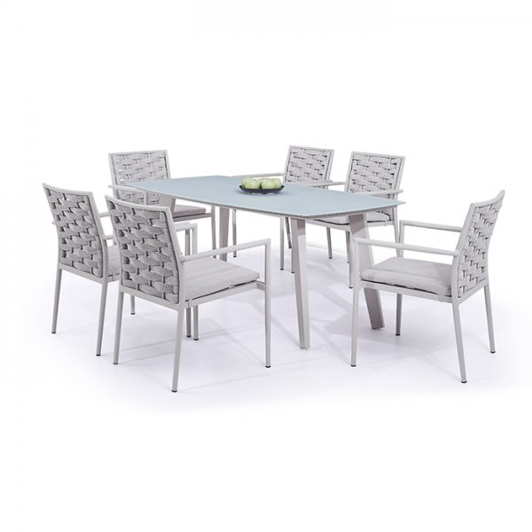 7PCS DINING ROPE TABLE SET DW080x6/DW070
