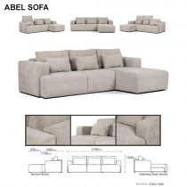 ABEL MANGUE CORNER SOFA EXTENDABLE GREY STEEL RIGHT