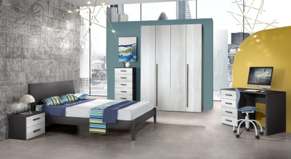 BEDROOM SET KARINA 4 DOOR W/2 SINGLE BEDS ANTH/CAN. WHITE