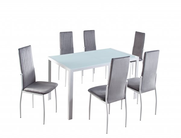 BREDA 7PCS DINING TABLE AND CHAIR SET WHITE