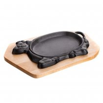 CAST IRON PAN COW WOODEN PLATE 27x17CM 40LP004 K6