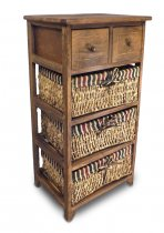 COFFEE CABINET 2DRW 3 CANE BASKET K1