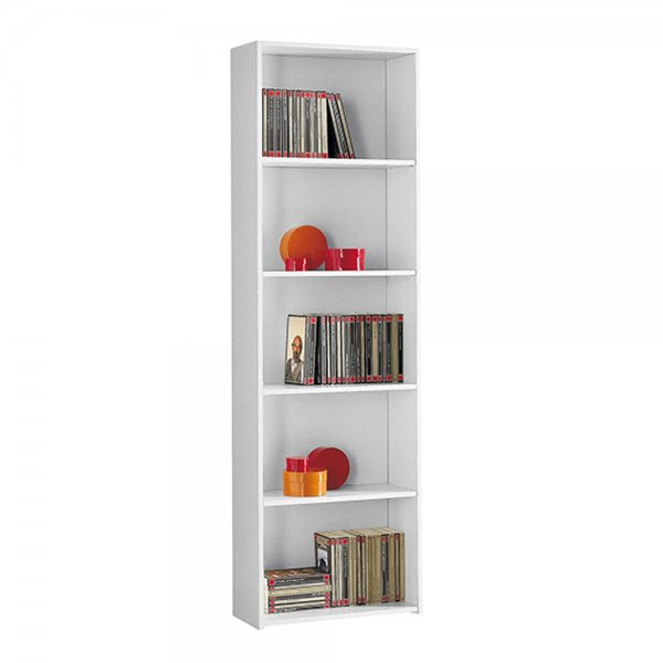 ECO 5 TIER BOOKCASE - WHITE