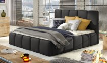 EDVIGE STORAGE DOUBLE BED WITH MATTRESS 140x200cm BLACK