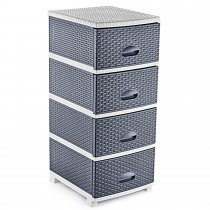 ELEGANCE RATTAN STORAGE DRAWERS GREY/ANTH