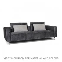 ELSA 3 SEATER SOFA - GREY WITH RED CUSHIONS