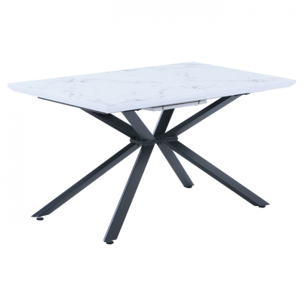 HENRY EXTENDABLE DINING TABLE - WHITE MARBLE TOP WITH BLACK LEGS