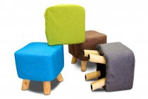 FABRIC STOOL WOODEN LEGS BLUE/GREEN/BROWN/GREY