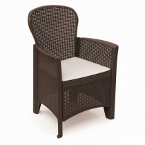 FOLIA RATTAN ARMCHAIR W/CUSHION MOKA