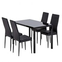 GASPARD BLACK DINING TABLE SET 4+1
