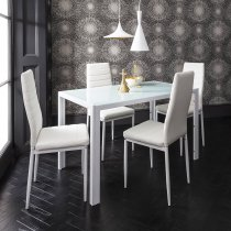 GASPARD WHITE DINING TABLE SET 4+1