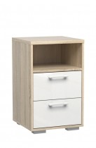 out of stock H/LINE NIGHT STAND 65akuu OAK/ WHITE GLOSS