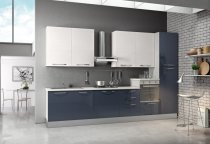 KITCHEN GOLOSA BLUE GLOSS WHITE TOP CUPBOARDS 360Lx240H cm