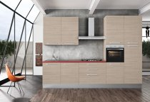 KITCHEN OLMO WITH RED TOP L330xH240 cm S/S HANDLES
