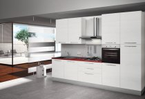 KITCHEN WHITE ASH WITH RED TOP L330xH240cm