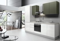 KITCHEN WHITE GLOSS TOP CUPBOARDS PUSH-PULL L255xH216cm