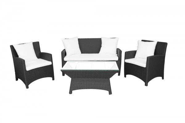LIMASSOL PE RATTAN 4pcs SOFA SET BLACK