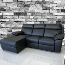 LIVERPOOL LEFT CORNER SOFA 3 SEATER RECLINER PU black