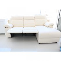 LIVERPOOL LEFT CORNER SOFA 3 SEATER RECLINER PU cream