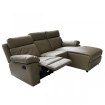 LIVERPOOL LEFT CORNER SOFA 3 SEATER RECLINER PU Taupe