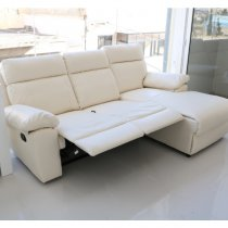 LIVERPOOL RIGHT CORNER SOFA 3 SEATER RECLINER PU cream