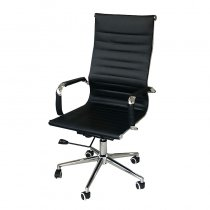 OFFICE CHAIR MODERN PU BLACK 55X47X106CM