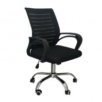 OFFICE CHAIR PLASTIC+POLYESTER BLACK 56*98CM