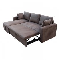 PAMLETTO CORNER SOFA BED WITH STORAGE M/FIBER TAUPE