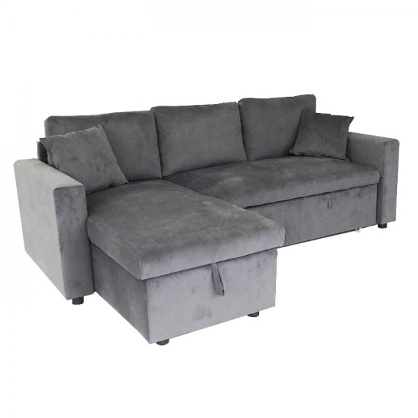 PAMLETTO CORNER SOFA BED WITH STORAGE PU DARK GREY