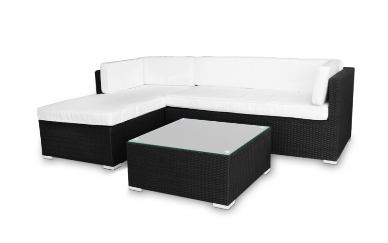 ferraracasa pe rattan l shape sofa w coffee table black. Black Bedroom Furniture Sets. Home Design Ideas
