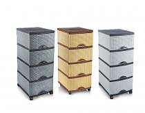 RATTAN 4 TIER DRAWER OR-160 WHT/BE