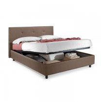 STORAGE BED 160x190 WITH HYDRAULIC - 603 BROWN FABRIC