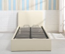 STORAGE BED SYNTHETIC LEATHER 140x190cm BEIGE
