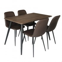 TABLE W/4 CHAIRS WOOD+PU BROWN 120X70X75CM