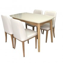TABLE W/4 CHAIRS WOOD+PU WHITE 120X70X75CM