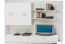 TV & WALL UNIT + 2 SHELVES WHITE 240cm