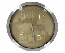 WALL CLOCK WHITE WOOD GRAIN 35X35X4CM