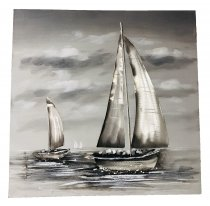 WALL PAINTING 2 BOATS B&W DESIGN 60X60CM