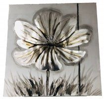 WALL PAINTING FLOWER SILVER DESIGN 80X80CM