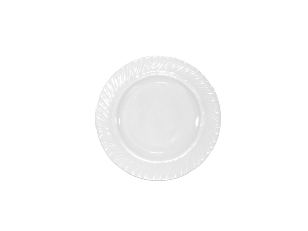 WHITE GLASS SIDE PLATE 18CM K72