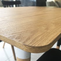 WOOD TABLE W/4 BLACK CHAIRS